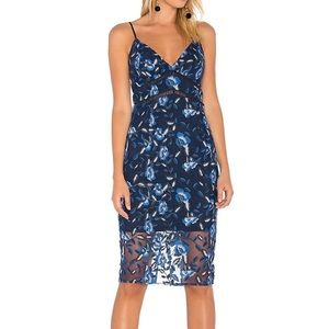 Bardot sapphire lace floral blue dress